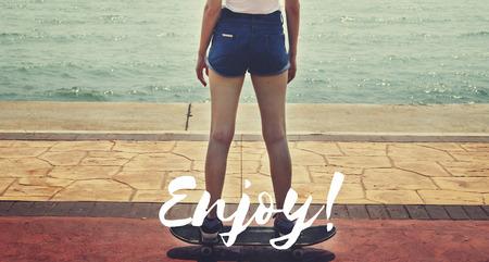 pleasurable: Enjoy Enjoyment Pleasurable Happiness Delightful Concept