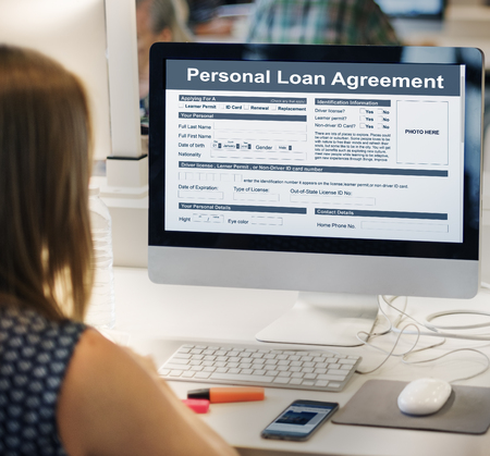 loaning: Personal Loan Agreement Bankiing Finance Credit Concept