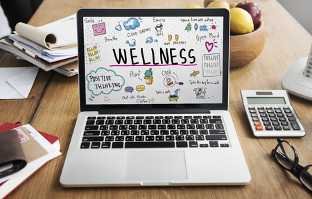 workplace wellness: Health Laptop Healthcare Wellness Senior Concept Stock Photo