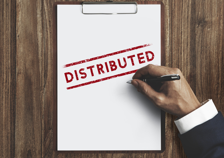 distributed: Distributed Dealing Arrangement Spread Supply Concept Stock Photo