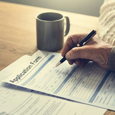 adult writing: Senior Adult Writing Application Form Concept