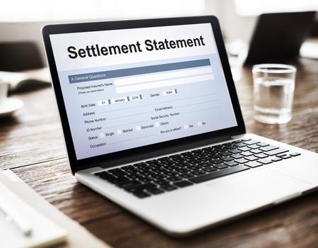 scrutiny: Settlement Statement Balance Scrutiny Estate Concept