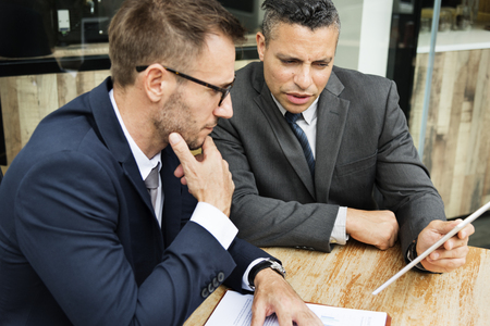 Businessmen Meeting Discussion Analysing Planning Concept Stock Photo