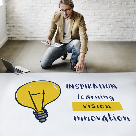 laptop outside: Creative Think Invention Inspiration Concept Stock Photo