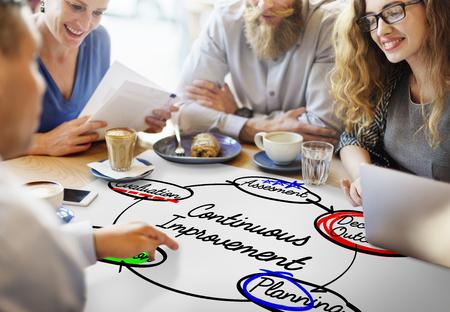 지속적인 개선 워크 플로우 프로세스 실천 계획 개념 스톡 콘텐츠