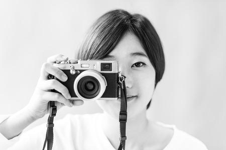 Asian Girl Camera Photographer Focus Shooting Concept