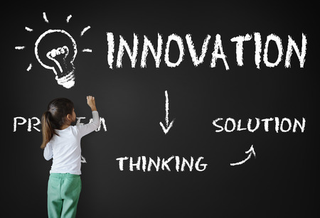 child of school age: Strategy Idea Plan Brainstorm Analysis Concept Stock Photo