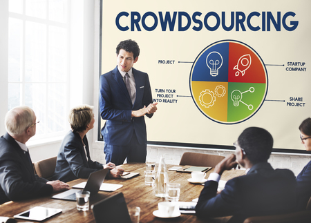 Business presentation with crowdsourcing Stock Photo