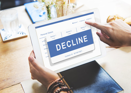 pending: Decline Entry Pending Waiting Approved Reject Concept Stock Photo