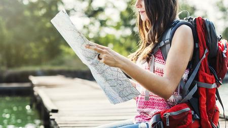 Map Destination Direction Route Travel Trip Trek Concept