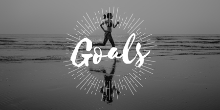 goal oriented: Goals Target Aspirations Purpose Aim Strategy Concept Stock Photo