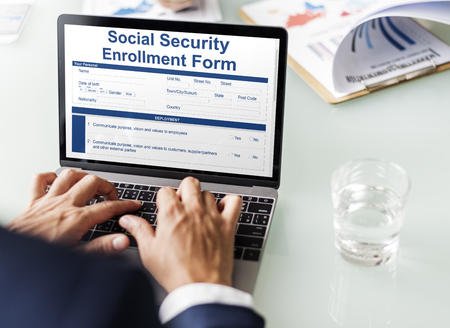 social security: Social Security Enrollment Form Document Concept Stock Photo