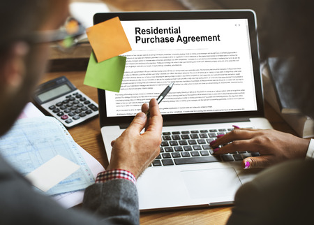 purchases: Residential Purchase Agreement Insurance Concept Stock Photo
