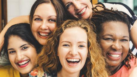 Diversity Women Socialize Unity Together Concept Zdjęcie Seryjne