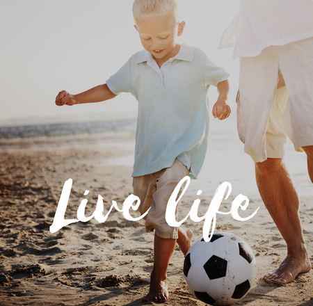 Boy and man outdoors with live life concept
