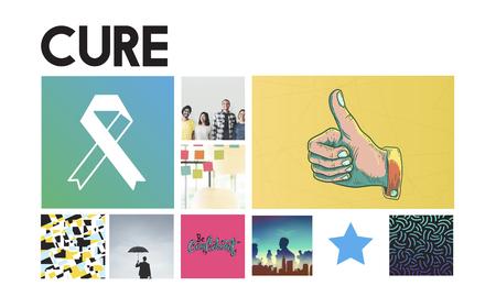 cure: Ribbon Cure Healthcare Treatment Concept