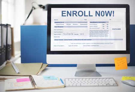 enroll: Enroll Now Registration Membership Concept