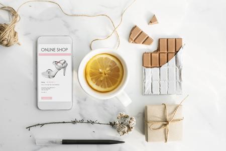 consumerism: Online Shopping Digital Consumerism Feminism Concept Stock Photo