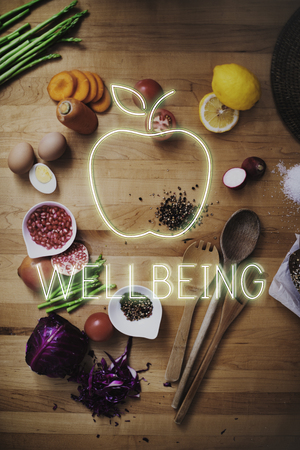 Fruits and vegetables with wellbeing concept