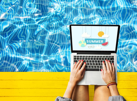 vacation with laptop: Summer Break Fun Party Banner Concept Stock Photo
