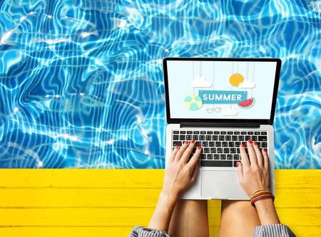 summer break: Summer Break Fun Party Banner Concept Stock Photo