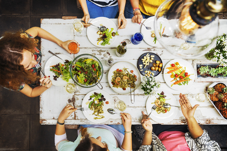 Diversity Women Group Hanging Eating Together Concept Stock Photo