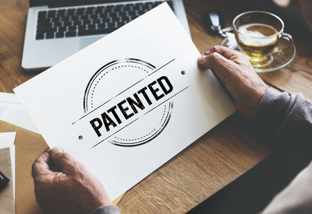 brand identity: Patented Brand Identity License Product Copyright Concept Stock Photo