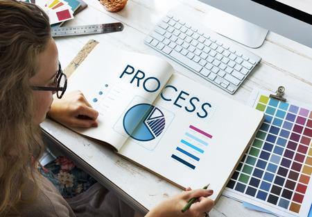 Designer with process concept Фото со стока