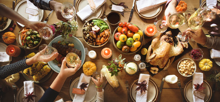People Cheers Celebrating Thanksgiving Holiday Concept Banco de Imagens