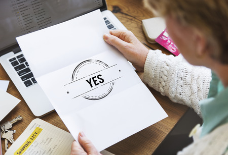 absolutely: Yes Sure Absolutely Answer Indeed Reply Right Concept Stock Photo