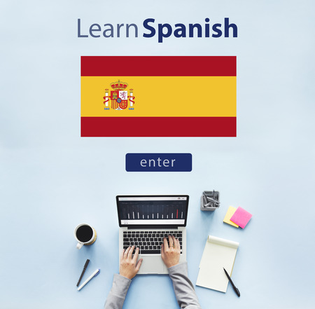spanish language: Learn Spanish Language Online Education Concept Stock Photo