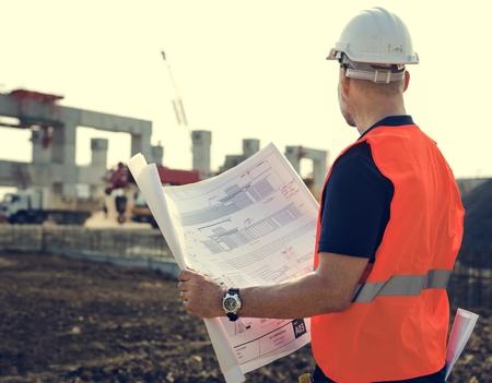 under control: Blueprint Architect Career Structure Construction Concept