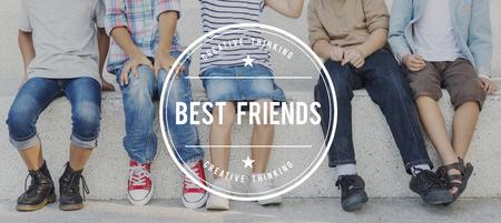 trato amable: Best Friends Friendship Partnership Relationship Concept Foto de archivo