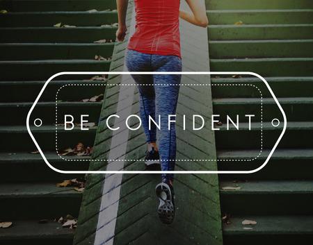 optimismo: Ser confiado optimismo positividad Concept