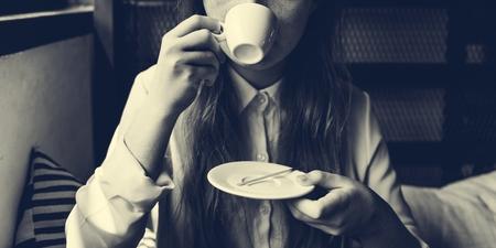 moles: Girl Drinking Coffee Shop Concept