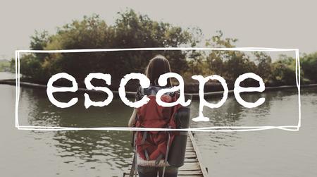 目的地の探査の旅旅行の概念を脱出します。 写真素材