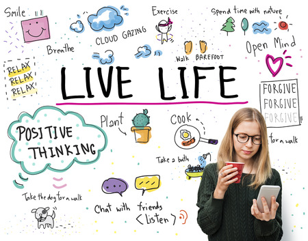 simple life: Positive Thinking Simple Life Graphic Concept Stock Photo