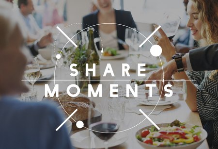 out of business: Share Ideas Moments Connection Share Social Concept