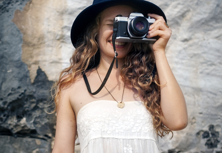 picture framing: Girl Camera Photographer Focus Shooting Nature Concept Stock Photo