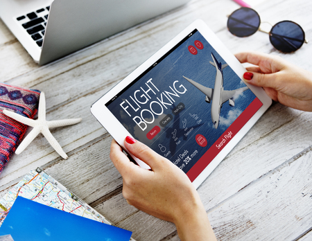 booking: Air Ticket Flight Booking Concept Stock Photo