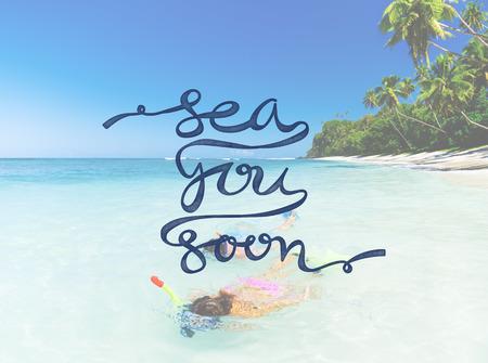 Travel Snorkelling Summer Beach Sea Word Concept