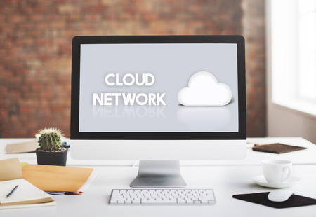 data backup: Cloud Network Data Backup Graphic Icon Concept