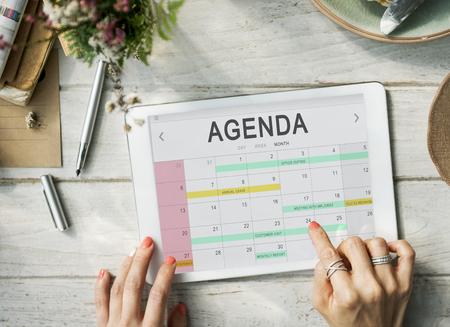 event calendar: Calendar Agenda Event Meeting Reminder Schedule Graphic Concept