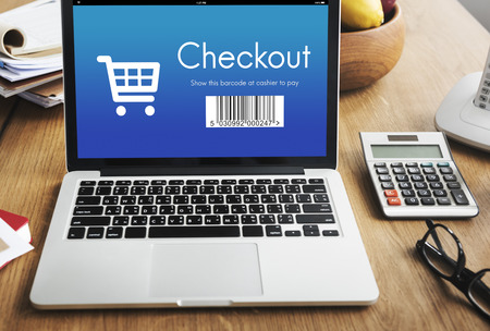 checkout: Checkout Purchase Online Shopping Concept Stock Photo