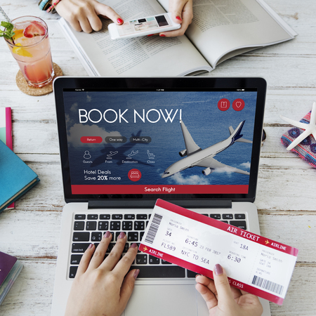 Air Ticket Flight Booking Concept Stock Photo