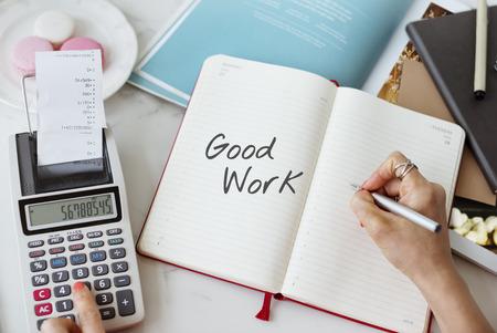 debt goals: Contact Assistent Good Job Concept