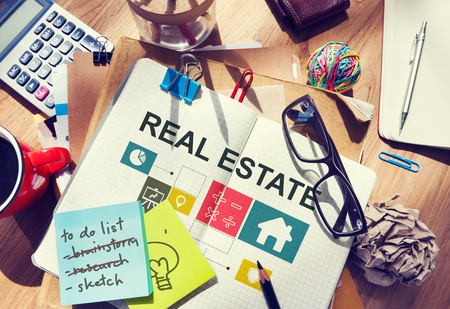 stationery needs: Real Estate Business Work Money Concept Stock Photo