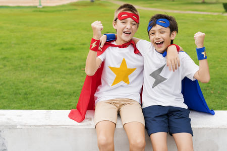 other keywords: Superheroes Kids Boy Friend Buddy Concept Stock Photo