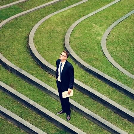 retardation: Businessman Outdoor Corporate Waiting Concept