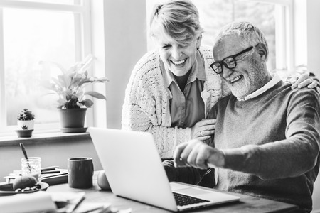 pensioner: Senior Couple Living Casual Pensioner Social Concept